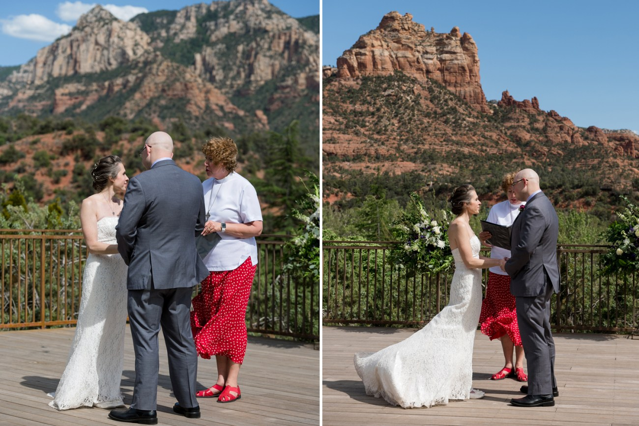 Sedona wedding ceremony with red rock vista