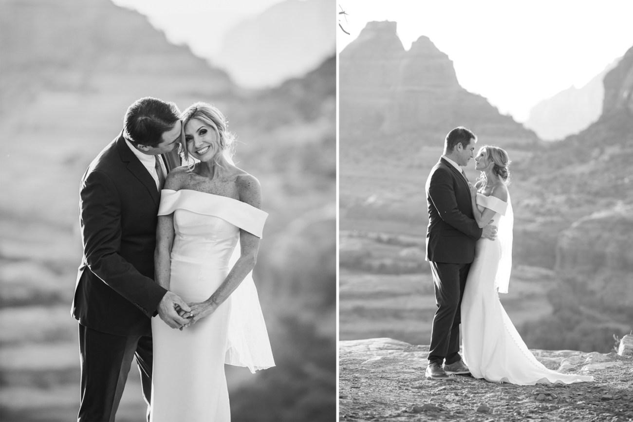 black and white wedding photo at merry go round rock