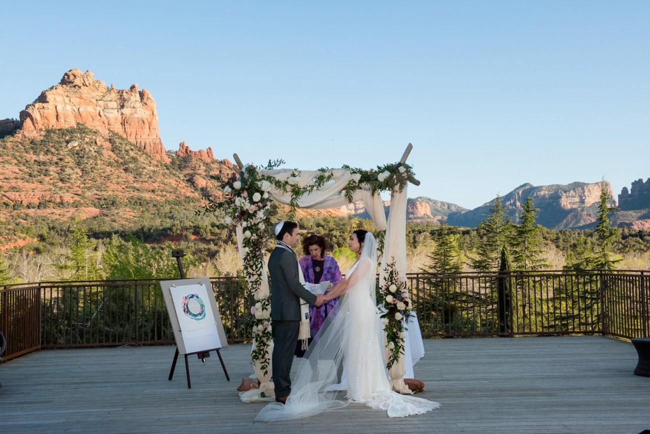 Sedona intimate wedding chuppah