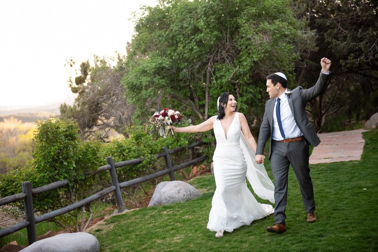 Sedona bride and groom walking