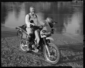 Mo Copeland on a Kawasaki KLR-650 photographed with Toyo VX-125 film camera.