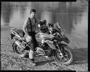 Aaron Tygart on a BMW R1200GS motorcycle