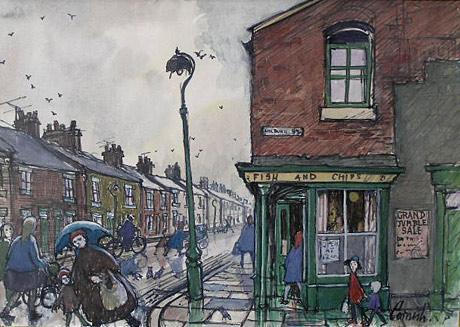Norman Cornish 1919 2014 The Corner Chippy For Sale