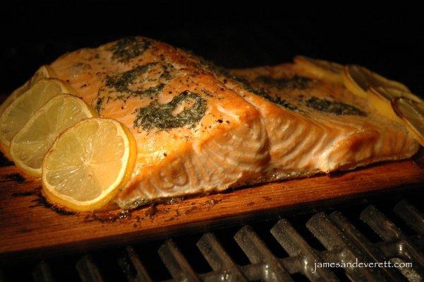Cedar plank smoked salmon