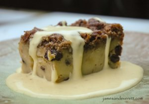 Bread pudding with spiced rum cream