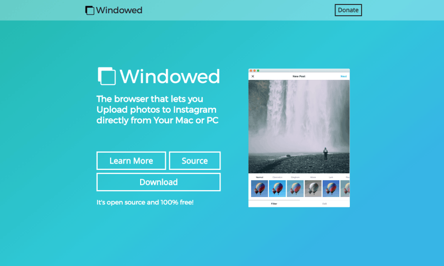 Windowed Instagram software