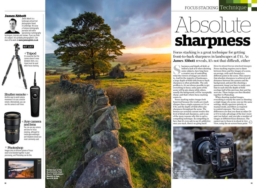 Amateur Photographer magazine focus stacking article by James Abbott