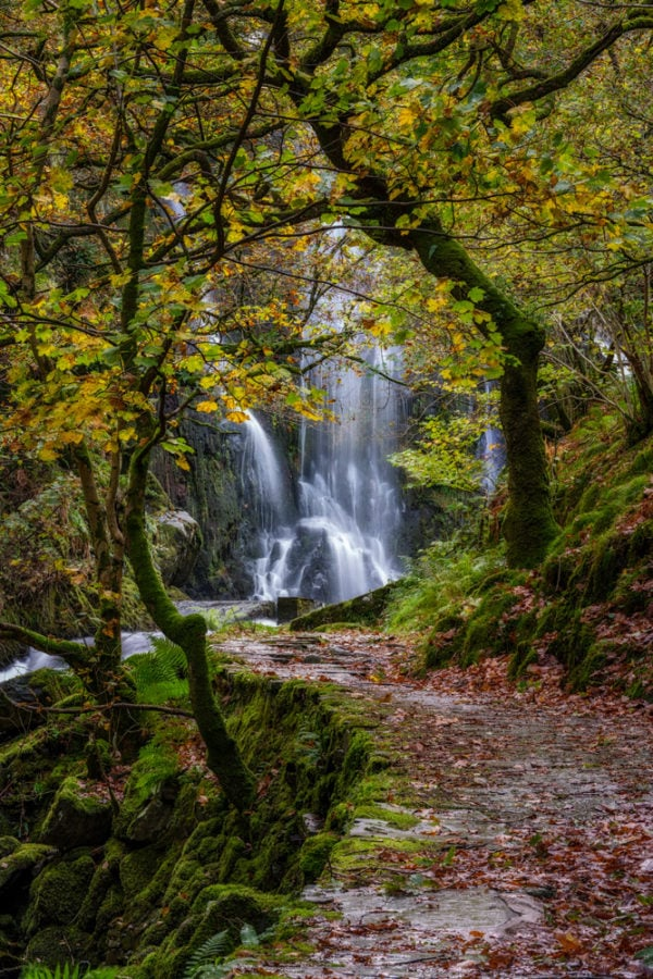 Long exposure of Llanberis Falls in Llanberis, Snowdonis in Autumn.