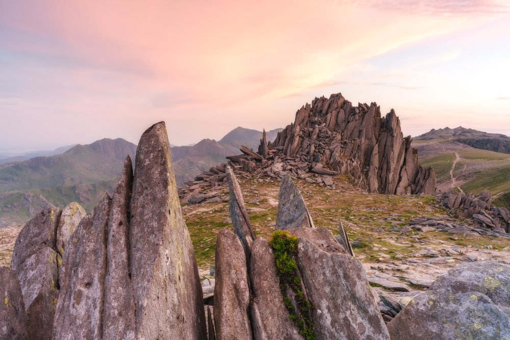 Castell Y Gwynt in Snowdonia at sunset focus stacked
