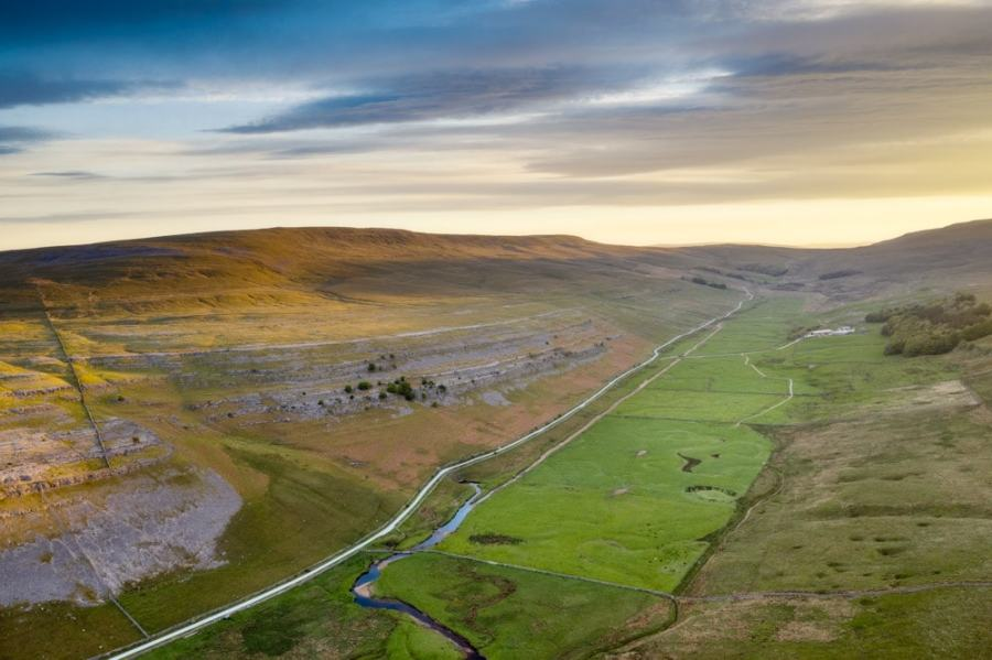 Looking down Kingsdale in the Yorkshire Dales at sunrise with the DJI Mavic 2 Pro drone