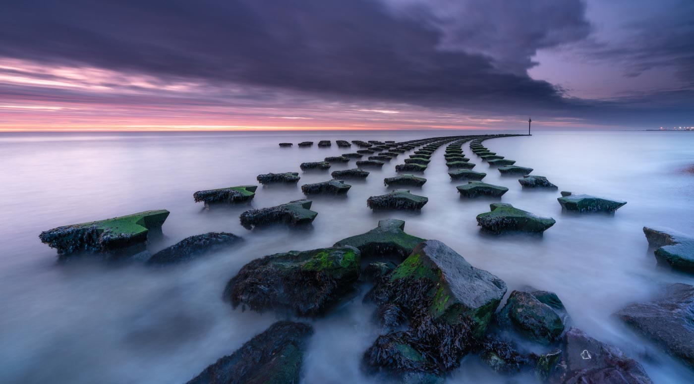 Long exposure of Cobbold's Point at sunrise