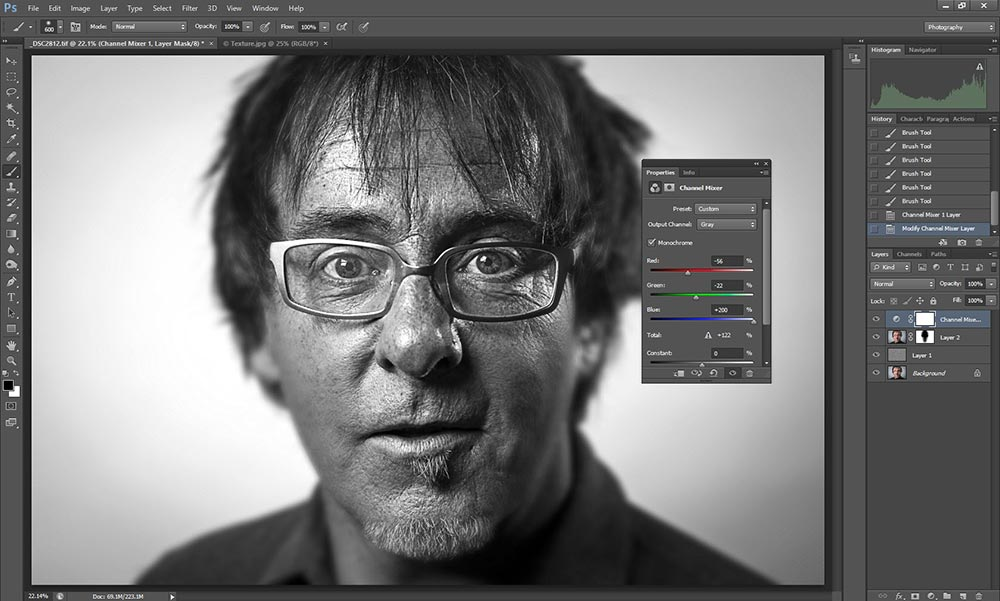 Wet plate collodion effect in Photoshop tutorial step 4