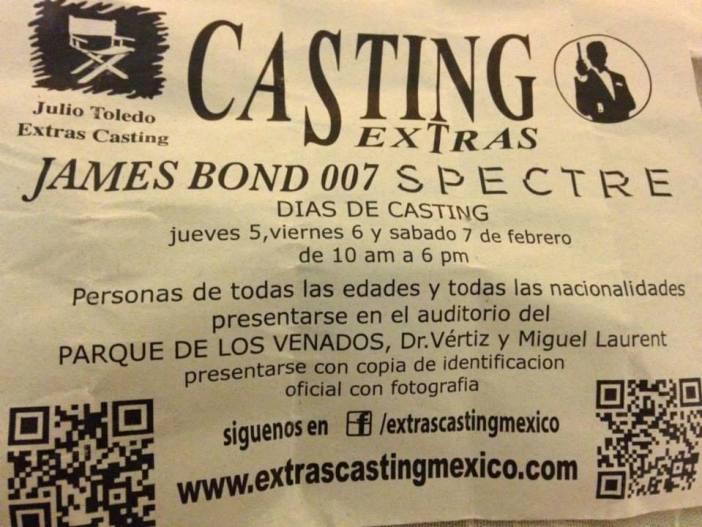 """Seleção de figurantes para gravações de """"SPECTRE"""" no México © Archivo007"""