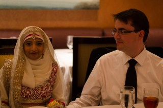 the Happy Couple(tm) at dinner