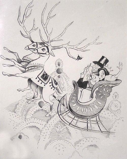 New Yorker Drawing Original Ink Drawing Of Christmas