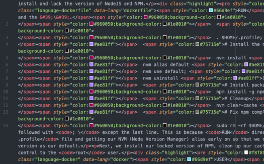Screenshot of VSCode with minified HTML