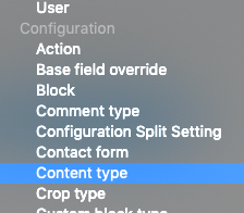 Dropdown select with Configuration: Content Type selected