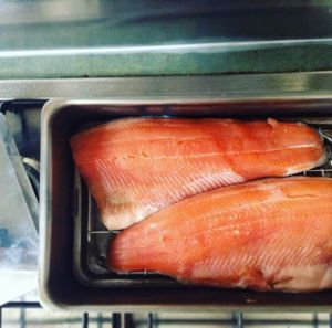 Rainbow trout ready to be smoked