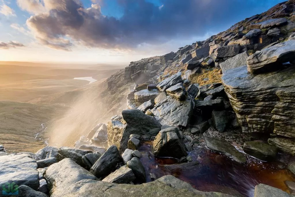 Kinder Downfall Sunset