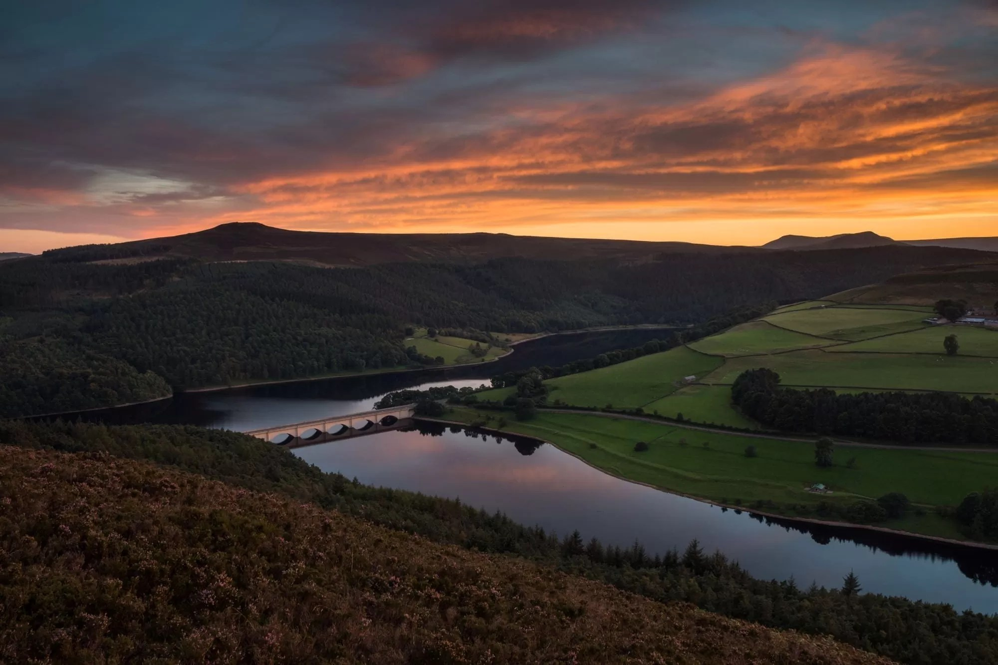 Lead Hill Fiery Skies Over Ladybower Sunset - Heather in the Peak District Photography Workshop