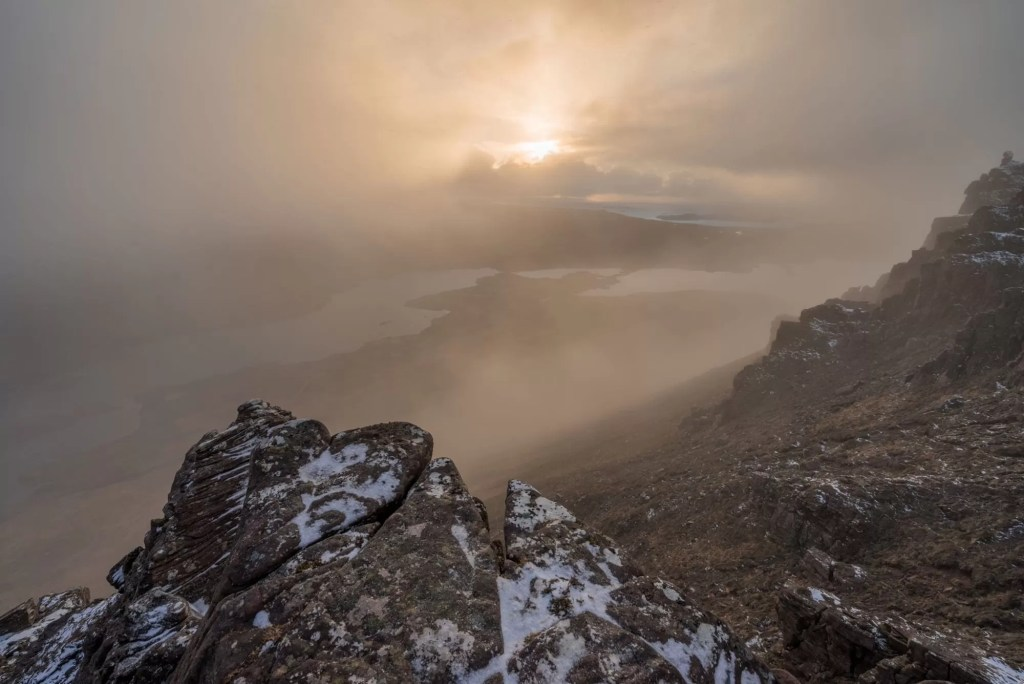 Stac Polliadh (Polly) Breaking Sun - Scotland Photography Workshops