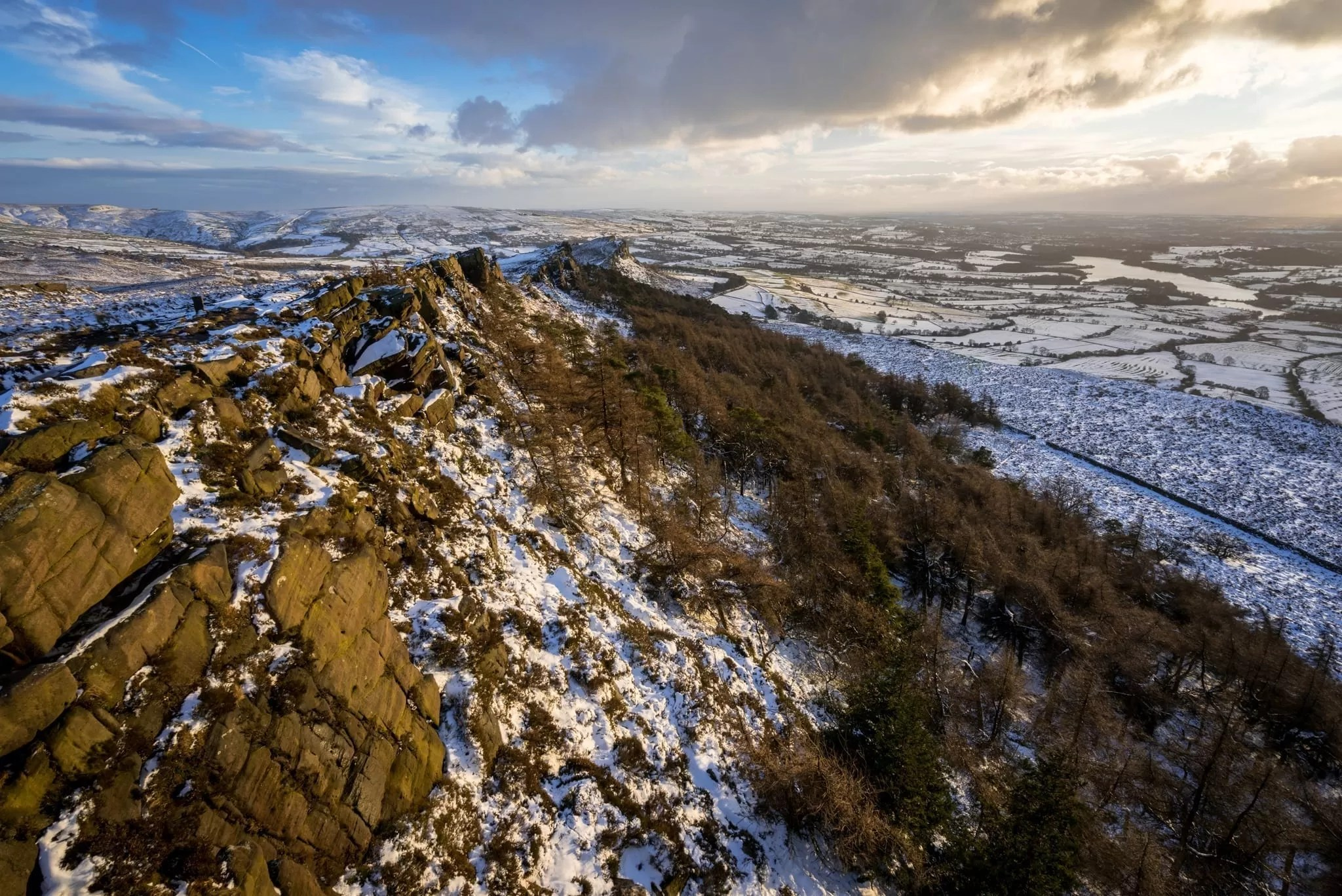 The Roaches Sunset in Winter - Peak District Photography