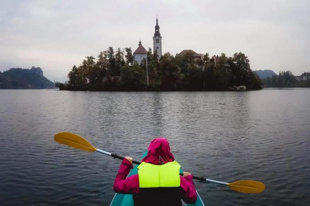 Kayaking on Lake Bled