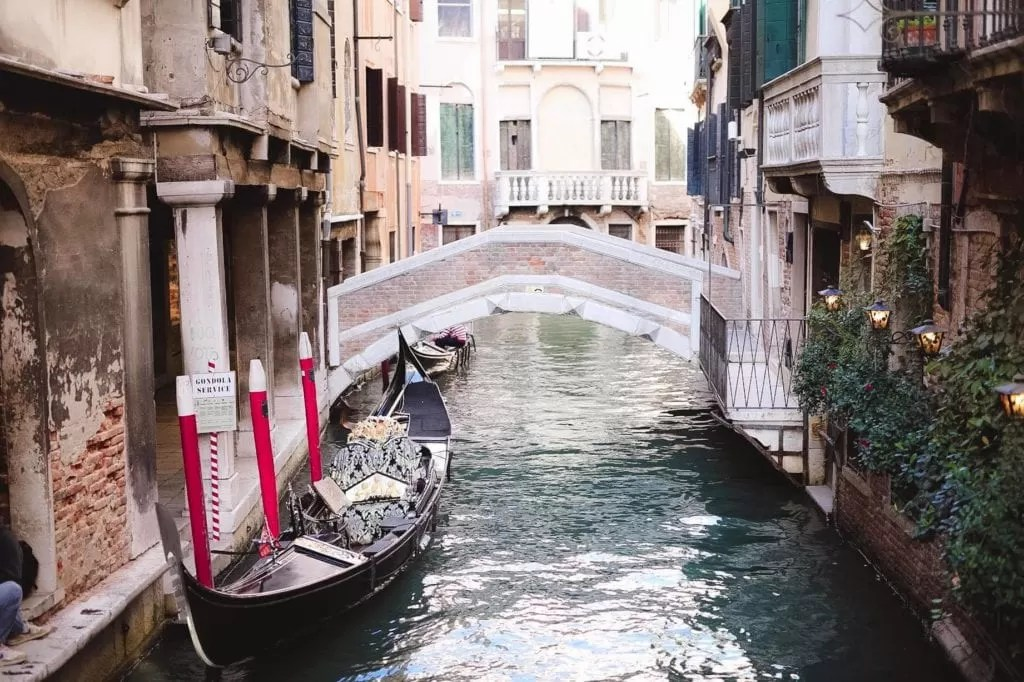 A typical scene in Venice with a Gondola