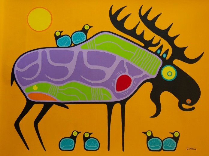 """""""Bull Moose"""" Acrylic on canvas 54"""" x 72"""" unstretched"""