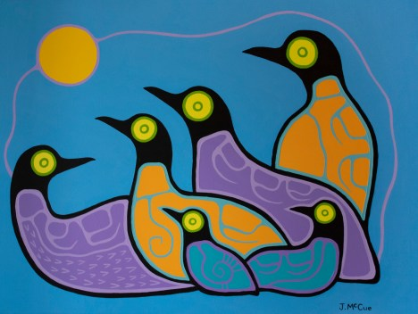 """Moonlit Loons"" Acrylic on canvas 30"" x 40"" stretched"