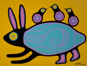 """""""Rabbit"""" Acrylic on canvas 18"""" x 24"""" stretched"""