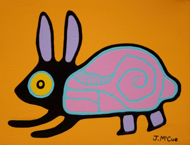 """""""Bunny"""" Acrylic on canvas 14"""" x 18"""" stretched"""