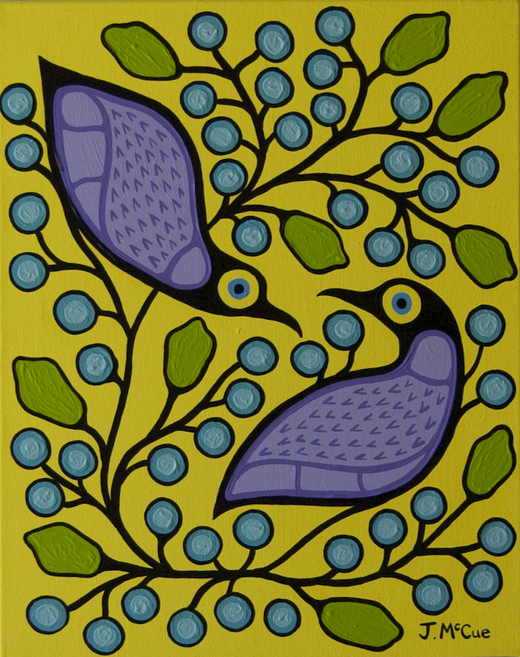 Birds and Blueberries #1 20x16