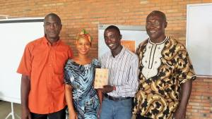 Author and poet James Dwalu, Hawa Golakai, Saah Millimono and Llord Aidoo the President of Liberian Association of Writers