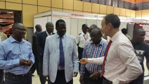 Former Kenyan Prime Minister Raila Odinga (white jacket) at one of the stands.