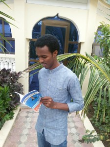 The 2nd youngest writer interms of age of the writers who have attended Mogadishu International Book Fair Warsame Omar Hussein (Shidley) & his book Maan-Garad.