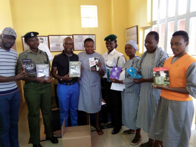 Books are donated to the library