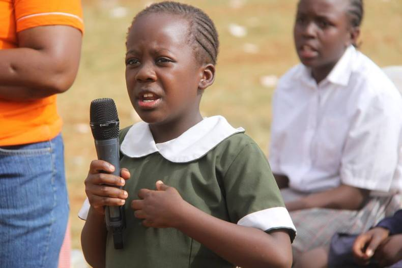 A child performs at the Nairobi International book fair 2017