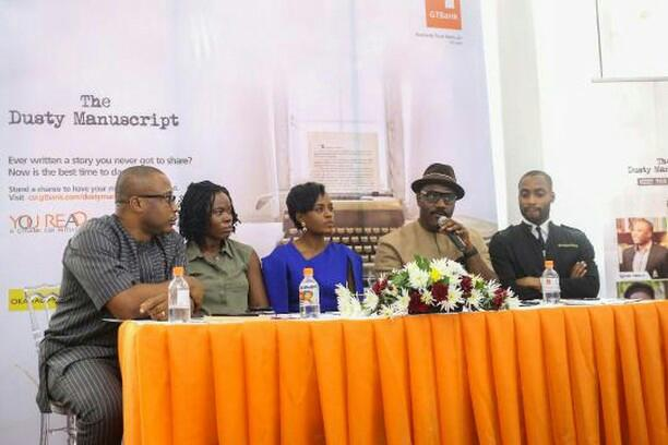 Eghosa Imasuen, Kachifo Ltd's Enajite Efemuaye, GTBank official, author Tony Kan, and Okada Books founder Chike Ofili
