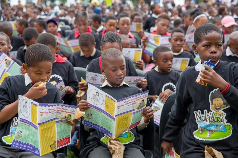 School kids at Mofolo Park, Soweto during World Read Aloud Day 2018.