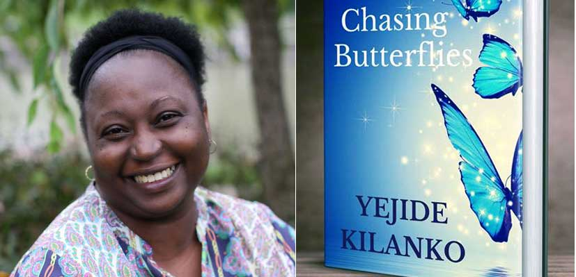 Yejide Kilanko with her novella Chasing Butterflies.