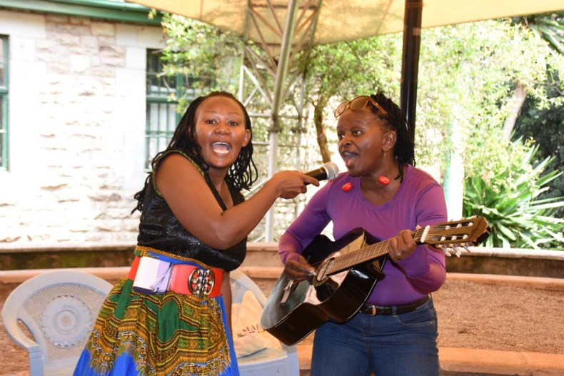Time out: Wangari The Storyteller Grace and Rose Kinyanjui sing.
