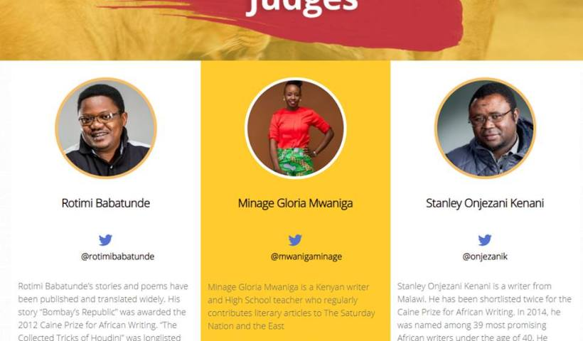 Rotimi Babatunde, Gloria Mwaniga Minage, Stanely Onjezani Kenani judge 100wordsafrica.com.