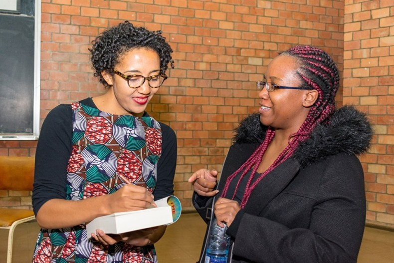 Namwali Serpell signs books at UNZA
