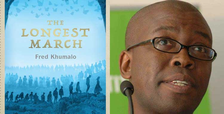 "Fred Khumalo reveals cover for his newest fiction title ""The Longest March."""