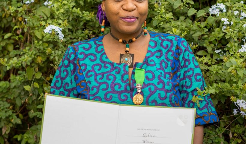 Zukiwa Wanner at Goethe Medal ceremony. Photo/Julian Manjahi, Goethe-Institut Nairobi.