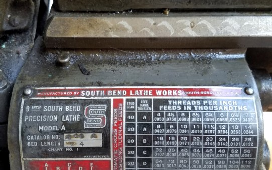 A gently used South Bend 9A Lathe