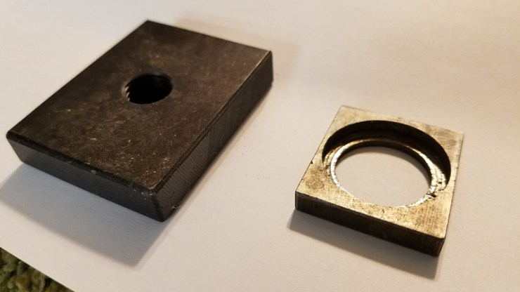 The new T-nut on the left was a little larger than the original on the right.