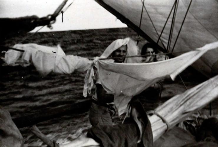 "Wash day aboard the ""LADY JO"""