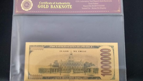 AUTHENTIC 24K GOLD CAPTAIN AMERICA TRUMP 2020 BANK NOTE w/ Certificate Of Authenticity Sleeve